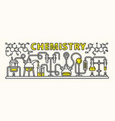 chemistry experiment banner outline style vector image