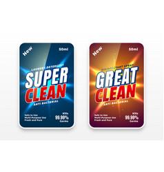 Cleaner labels design for detergent or vector