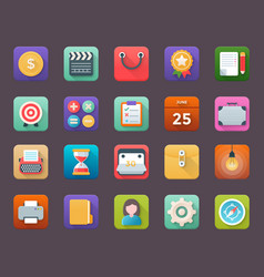 Collection of business app icons vector