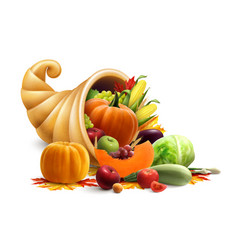 Cornucopia full of vegetables and fruits vector
