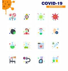 coronavirus 16 flat color icon set on theme vector image