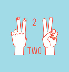 count on fingers number two gesture stylized vector image