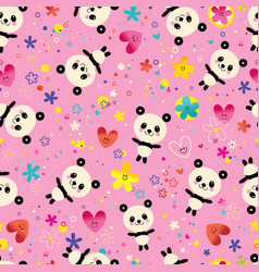 Cute baby panda bears flowers seamless pattern vector