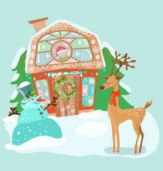 Cute house with snowman and deer vector