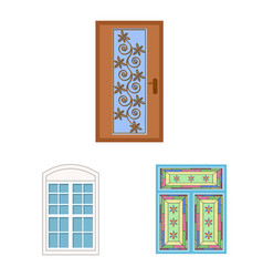 design of door and front symbol set of vector image