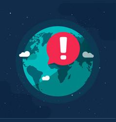 Earth planet in global danger epidemic vector
