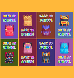 Fabric and leather schoolbags for boys and girls vector
