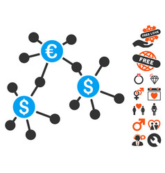 Financial networks icon with dating bonus vector