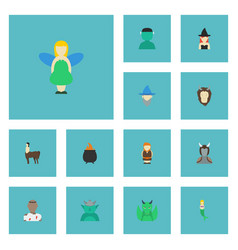 Flat icons goblin wizard mythology and other vector