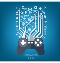 Flat joystick iconGaming background vector