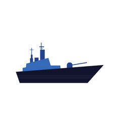 Flat style icon of blue warship battleship vector