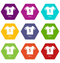 football shirt icons set 9 vector image