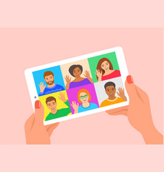 friends online video conference tablet computer vector image