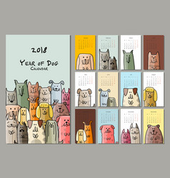 Funny dogs calendar 2018 design vector