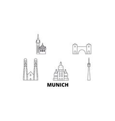 Germany munich line travel skyline set germany vector
