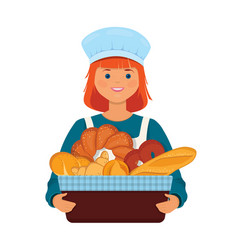 Girl baker holds a basket with fresh bread vector