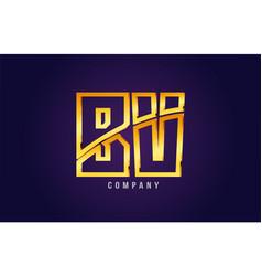 Gold golden alphabet letter bv b v logo vector