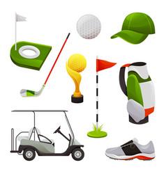 golf equipment and sport tools transport set vector image