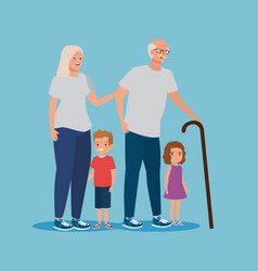 Grandmother and grandfather with cute boy and girl vector