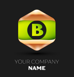 green letter b logo in golden-green hexagonal vector image