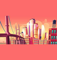 Growing future city metropolis background bridge vector