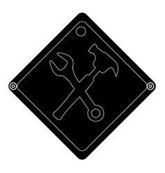 Hammer and wrench tools isolated icon vector