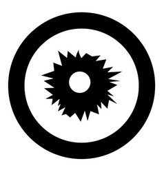Hole from shot icon black color in circle round vector
