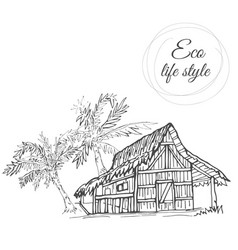 House under palm trees with thatched roof in the vector