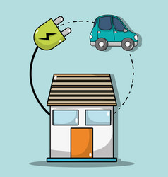 House with cable power to electric car connection vector