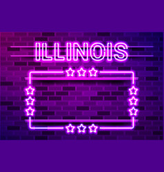 Illinois us state glowing purple neon lettering vector