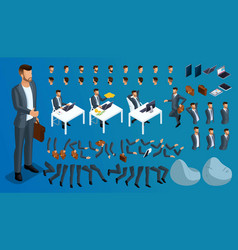 Isometric 3d set for creating characters vector