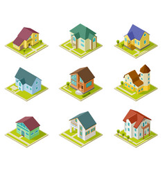 Isometric houses rural homes building and vector