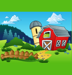 Landscape with farm and fence vector