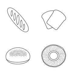 Loaf cut bagel toastbread set collection icons vector