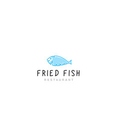 Logo fried fish restaurant vector