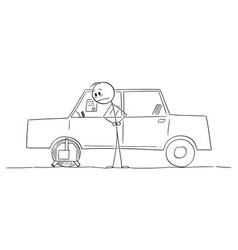 man or driver watching wheel clamp on parked car vector image