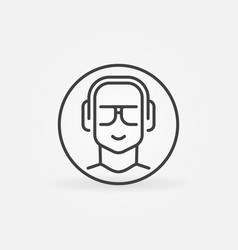 man with headphones in circle linear round vector image