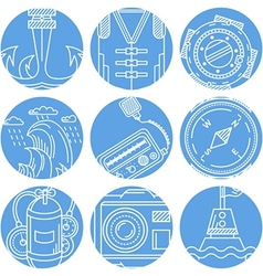 Marine elements round icons set vector