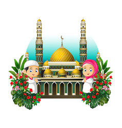 Mosque with two kids and tropical plants vector
