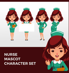 nurse mascot character set logo icon vector image