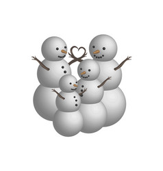 object snowman family in 3d vector image