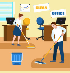 Office clean concept banner flat style vector