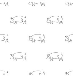 One line pig design silhouette pattern backgrounds vector