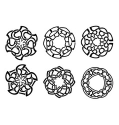 Ornament decorative celtic knots and curls set vector