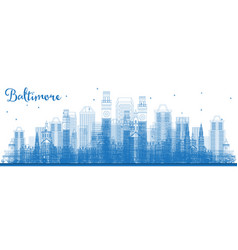 Outline baltimore maryland city skyline with blue vector