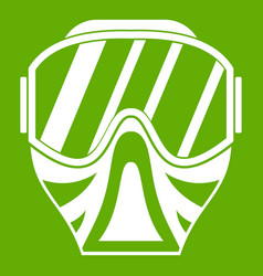 paintball mask icon green vector image