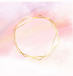 Pink watercolor cotton cloud background with vector