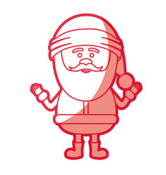 Red silhouette of smiling santa claus with open vector