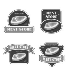 Retro butchery and meat store black badge label vector