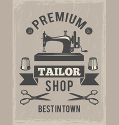retro poster for tailor shop placard with symbols vector image